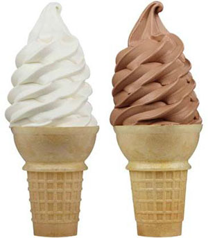 ice cream cones for 4 00 Chocolate Soft Serve Ice Cream Cone